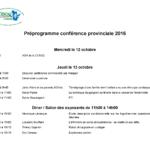 Préprogramme conférence provinciale 2016